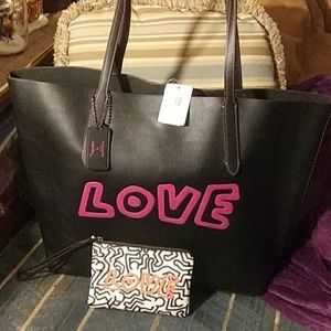 Coach X Keith Haring Love tote w wristlet NWT